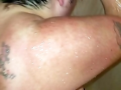 After getting clean in the shower a bbw gets dirty in the face.