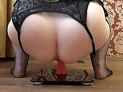 Plump milf jumps on a dildo and shakes a juicy butt, shakes big tits, solo bbw.