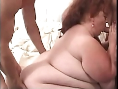 Redhead BBW whore takes to nice dicks in mouth and pussy