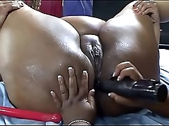 Two black BBW whores use toys to get great orgasm
