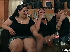 BBW chicks are striping and sucking