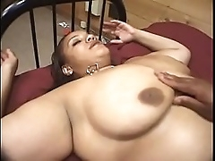 Latina and ebony BBW babes have pleasure with dildo