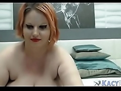 BBW Plays and Licks Her Massive Boobs - KacyLive.com